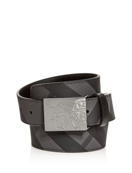 Men's Plaque Buckle Check Leather Belt by Burberry
