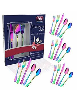 Rainbow Flatware Set Colorful Stainless Steel Silverware Dinnerware Set, Colored Tableware Set For 4, 20 Piece Flatware Set Service For 4, Include Knife/Fork/Spoon/Teaspoon/Fruit Fork (Rainbow 20 Piec by Hommaly