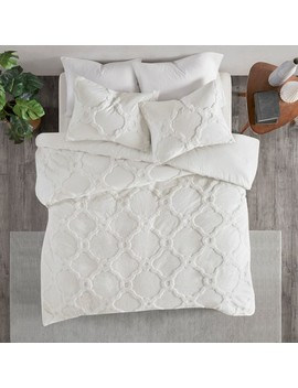 3pc Full/Queen Leena Cotton Geometric Duvet Cover Set White by Jla Home