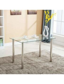 Mecor Dining Table Modern Minimallist Glass Kitchen Table Rectangular Transparent Metal Legs 47 In For 4/6 Persons,Clear by Mecor