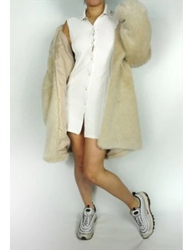Faux Fur Coat Jacket Maxi Long Fluffy Cream Vintage 90s 80s by Frankie's Thrifts