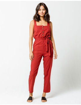 Mimi Chica Button Front Linen Burgundy Womens Jumpsuit by Mimi Chica