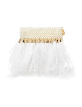 Feather Trimmed Faux Pearl Clutch by Rosantica