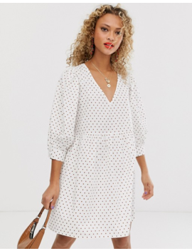 Asos Design V Front V Back Smock Mini Dress In Polka Dot by Asos Design