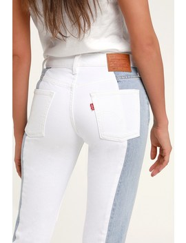 501 Taper Light Wash Color Block Cropped Jeans by Levi's