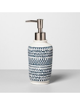 Embossed Soap/Lotion Dispenser Navy/White   Opalhouse by Opalhouse