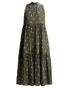 Polka Dot Silk Crepe Tiered Midi Dress by Asceno