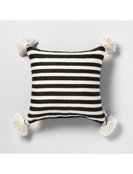 Outdoor Toss Pillow Black / White Stripe With Tassels   Hearth &Amp; Hand With Magnolia by Hearth & Hand With Magnolia