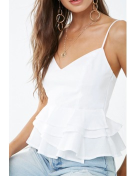Cotton Flounce V Neck Cami by Forever 21