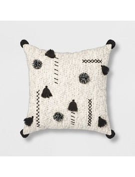 Abstract Tassel &Amp; Pom Square Throw Pillow Cream/Black   Opalhouse by Opalhouse