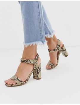Босоножки на блочном каблуке со змеиным принтом New Look by Asos