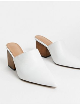Белые кожаные мюли на каблуке Asos Design Premium   Sloane by Asos Design