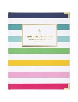 """Simplified By Emily Ley 2020 Weekly & Monthly Planner, 8"""" X 10"""", Large, Hardcover, Happy Stripe (El301 903 20) by At A Glance"""