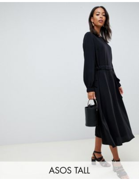Asos Design Tall Ruched Waist Chuck On Midi Dress With Long Sleeves by Asos Design
