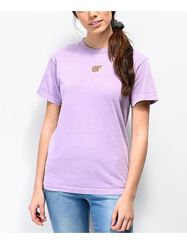 Odd Future Embroidered Dusty Lilac T Shirt by Odd Future