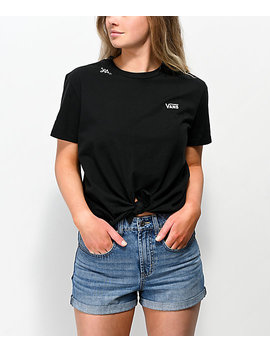 Vans Lizzie Knot Front Black &Amp; White T Shirt by Vans