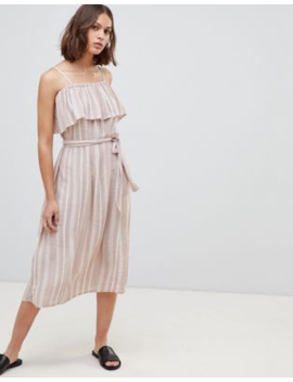 Ichi Stripe Bardot Midi Dress by Dress