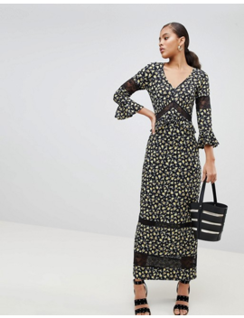 Asos Design Tall Maxi Tea Dress In Floral Print With Lace Inserts by Asos Design