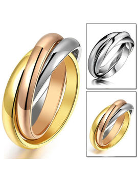 316 L Stainless Steel Triple Tone Tri Roll Links Band Silver/Gold Ring Size 6 12 by Unbranded