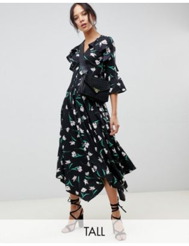 Influence Tall Asymmetric Floral Midi Tea Dress With Open Back Detail by Tall Dress