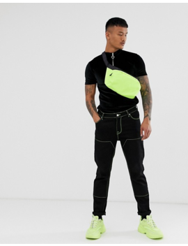 Asos Design Muscle T Shirt With Stretch And Turtle Zip Neck In Black Velour by Asos Design