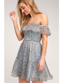 My Favorite Sky Blue Floral Print Off The Shoulder Dress by Lulus
