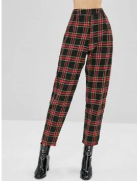Hot Sale Tapered Plaid High Waisted Pants   Multi M by Zaful