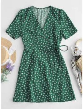 Hot Sale Short Sleeve Floral Wrap Mini Dress   Green M by Zaful