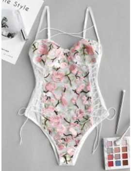 Hot Sale Flower Embroidered Lace Up Mesh Teddy   Multi A M by Zaful