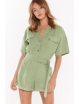 I'm Onto Utility Belted Romper by Nasty Gal