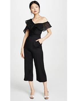 one-shoulder-frilled-jumpsuit by self-portrait