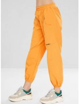 Hot Sale Letter Embroidered Pocket Jogger Pants   Bee Yellow by Zaful
