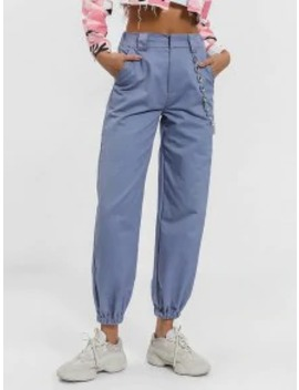 Hot Sale Chain Embellished Jogger Pants   Blue Gray S by Zaful