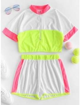 Hot Sale Half Zip Breathable Contrast Neon Shorts Set   Multi A S by Zaful