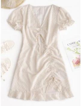 Popular Zaful Cinched Chiffon Flounce Swiss Dot Dress   Warm White S by Zaful