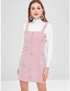 Hot Sale Button Through Corduroy Pinafore Mini Dress   Pink S by Zaful