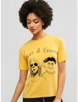 Sale Graphic Casual Short Sleeve Tee   Rubber Ducky Yellow L by Zaful