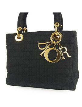 Auth Christian Dior Cannage Lady Dior Canvas Hand Bag F/S 3029 by Christian Dior