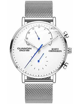 Chronograph Men Quartz Watch Thin Case Business Casual Creative Mesh Strap Watch Guanqin by Carlien