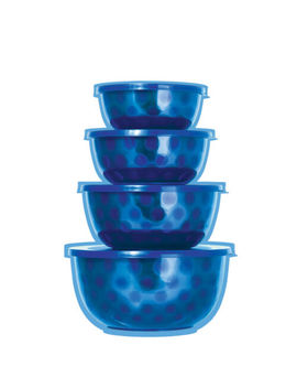Microwave Safe Stainless Steel Mixing Serving Bowl Set   4 Mixing Bowls With Lid by Imperial Home