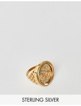 Chained &Amp; Able Old English Sovereign Ring In Sterling Silver With Gold Plating by Chained & Able