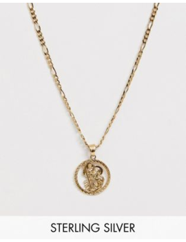 Chained &Amp; Able Sterling Silver St Christopher Medallion Neck Chain In Gold by Chained & Able