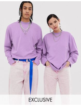 Collusion Unisex Long Sleeve T Shirt In Lilac by Collusion