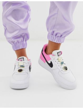 Nike White Pink And Black Basketball Badge Air Force 1 '07 Trainers by Nike