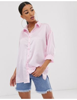 Missguided Oversized Satin Shirt Pink by Missguided