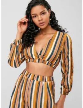 Sale Striped Split Sleeve Crop Blouse   Yellow S by Zaful
