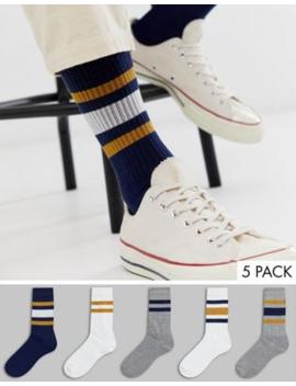 Asos Design Sports Socks With Varsity Coloured Stripes 5 Pack Multipack Saving by Asos Design