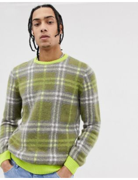 Asos Design Relaxed Fit Textured Check Jumper In Neon Green by Asos Design