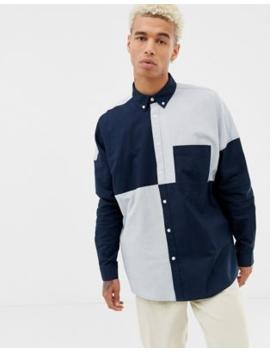 Asos Design Oversized Oxford Shirt In Cut &Amp; Sew by Asos Design
