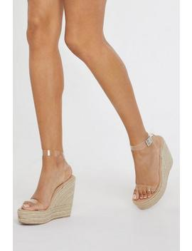 Stand Clear Espadrille Clear Wedges by Nasty Gal